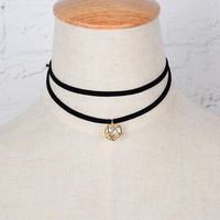 Womens Leather Choker Crystal Necklace + Gift Box