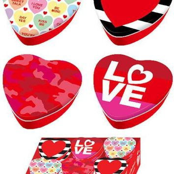 Tin Valentine Heart Shaped Box in a Countertop Display - 48 Units