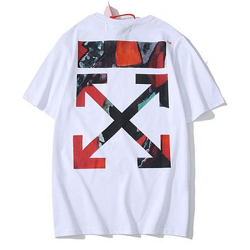 Off White Fashion New Multicolor Arrow Print Women Men Top T-Shirt White