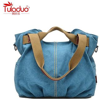 TULADUO 2017 High Quality Canvas Women Shoulder Bags Large Ladies Messenger Bags Designer Brand Vintage Women's Crossbody Bags