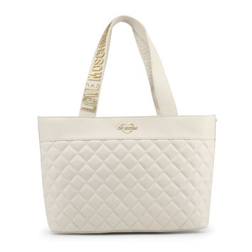 Love Moschino White Leather Shopping Bag