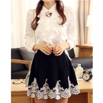 Fashion Elegant Embroidery Sweet Princess Lace Pleated Puff Skirt = 1901167620
