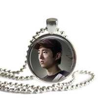 Glenn Rhee Necklace Inspired by The Walking Dead Handcrafted Silver Plated Pendant Necklace
