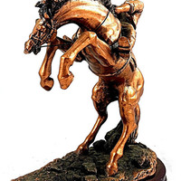 "Cowboy Riding Horse Statue Sculpture Bronze Covered Figurine 11"" Cowboy W/ Horse"