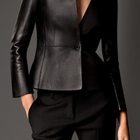 Bonded Nappa Leather Tailored Jacket