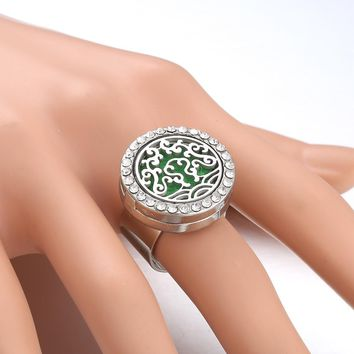 2019 New Flower Hollow Aromatherapy Perfume Locket Ring Rhinestone Jewelry Essential Oil Scent Rings Jewelry for Christmas Gift
