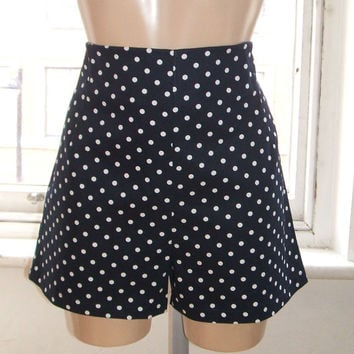 Baylis & Knight Navy Blue Polka dot High Waisted SHORTS Hot Pants Dita Burlesque Pin Up 50's Rockabilly Retro Cute