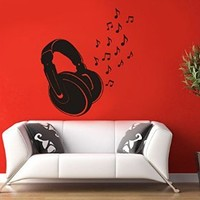 Wall Decal Vinyl Sticker Music Notes Key Rock Earphone Bedroom Song Dorm B145