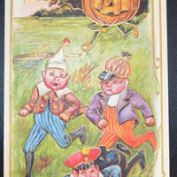 Halloween Postcard JOL Chasing Children Embossed Halloween Card