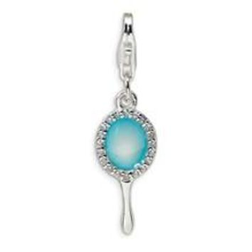 Enameled & CZ Hand Mirror Charm in Sterling Silver