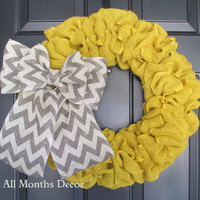 Yellow Burlap Wreath with Gray Chevron Bow