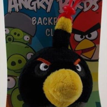"Angry Birds Backpack Zipper Clip Lot 2 Pull Black Plush 3"" Rovio Bomb Stuffed"