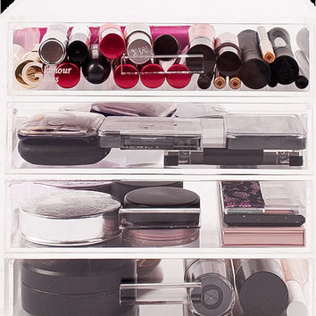 The MINI™ Glamour Glass Clear Cosmetic Cube Organizers, 4 Tier 4 Drawer Acrylic Makeup Display Storage Case *GlamourGlassCubes.com