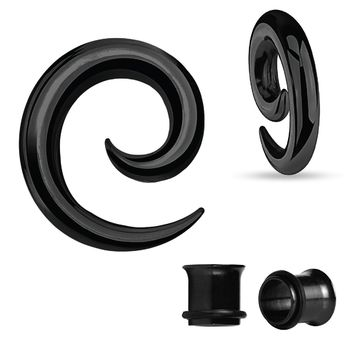 BodyJ4You Gauges Kit Spiral Hollow Light Taper Tunnels Black Surgical Steel 2G 6mm Body Piercing Jewelry Set 4 Pieces