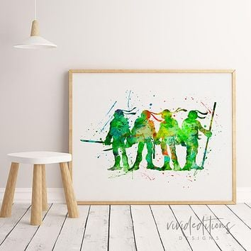 Teenage Mutant Ninja Turtles Watercolor Art Print