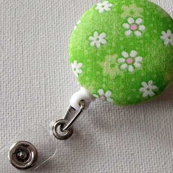 Cute ID Badge Reel green white pink by JeJeweled on Etsy