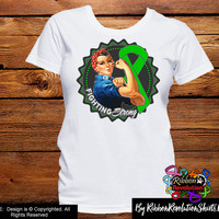 Green Ribbon Fighting Strong Rosie The Riveter Shirts (Adrenal Cancer, Cerebral Palsy, Kidney Disease, Spinal Cord Injury, TBI)