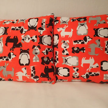 Decorative Pillow Cove Throw pillow Cover  16 x 16 Home Decor Cartoon Dogs Bulldogs Daschund  West Highland White Terriers Westies