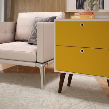 Taby 2- Drawer Nightstand in Yellow and White