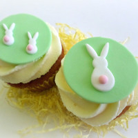Easter Bunny Cupcake Fondant Toppers, Easter Rabbit Party Decor, Spring Party, Baby Easter Treat Decor, Easter Gift, Edible Topper - set 12