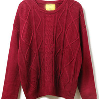Red Diamond Patterned Sweater