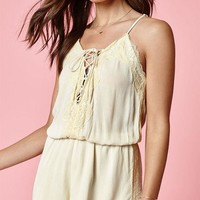 DCCKJH6 Kendall and Kylie Deep V Lace-Up Romper