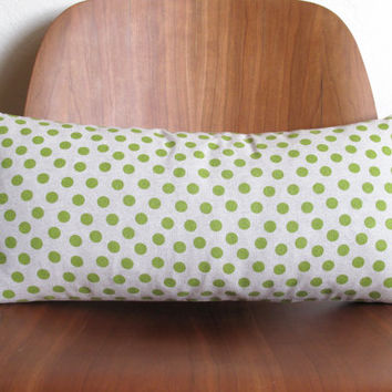Lime Green Polka Dot Pattern Rectangle Pillow