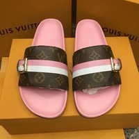 LV Slippers Louis Vuitton Sandals Stripe Belt Buckle Print Design Flat Shoes Pink