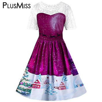 Plus Size 5XL Christmas Print Sexy White Lace Crochet Party Dress Women Winter 2017 Vintage Elegant Midi Dress Large Size