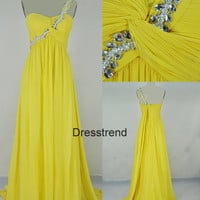 Long One-shoulder Yellow  Prom Dress - Yellow Prom Dresses With Beading / Prom Gowns Long / Evening Dress Long / Yellow Party Dress