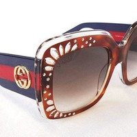 LMFON GUCCI Women's Sunglasses GG3862/S Havana Blue 54-22-145 MADE IN ITALY - New!
