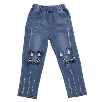 LMF78W Baby Girls Cute Jeans Kids Lovely Cartoon Cat Embroidery Denim Long Pants Children Ripped Denim Pants