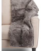 Luxury Gray Faux Mongolian Fur Throw Blanket