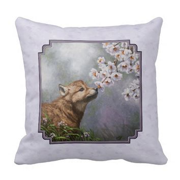 Wolf Pup and Flowers Pillow