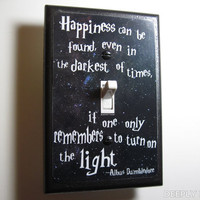 HARRY POTTER Light Switch Plate Dumbledore Quote Happiness Is Switchplate, Great Geeky Gift Idea