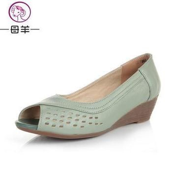 2016 summer shoes women genuine leather casual wedges shoes sandals women's pumps wome