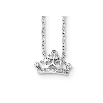 Sterling Silver Cz Crown W/2in Ext. Necklace