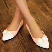 Patent Leather Women Flats Bowtie Pointed Toe Shoes
