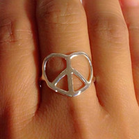 "Peace and Love Ring - sterling silver, ""Simplicity"" Peace Ring, Peace Sign Ring, love ring"