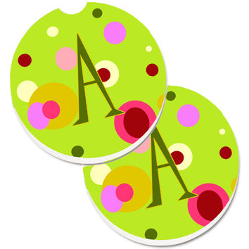 Letter A Monogram - Lime Green Set of 2 Cup Holder Car Coasters CJ1010-ACARC