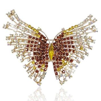 EVER FAITH Austrian Crystal Gorgeous Volant Butterfly Brooch for Bride Prom Bridal