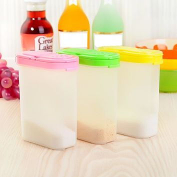 3 Color 250ml Plastic Food Seasoning Container Kitchen Spice Boxes Jar Double Lid Cereal Condiment Bean Storage Bottle Container
