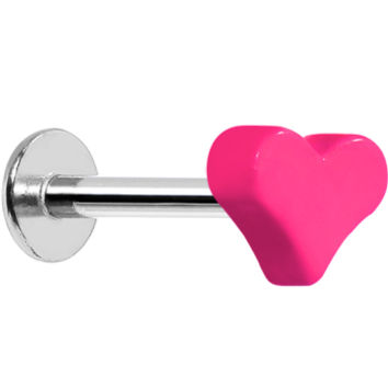 """16 Gauge Pink Neon Heart Labret Monroe Tragus Ring - 5/16"""" 
