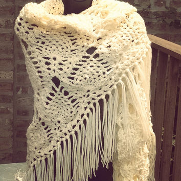 Bridal Shawl - Wedding Shawl - Cream Shawl - Crochet Shawl - Bridesmaid Shawl - Bohemian Shawl