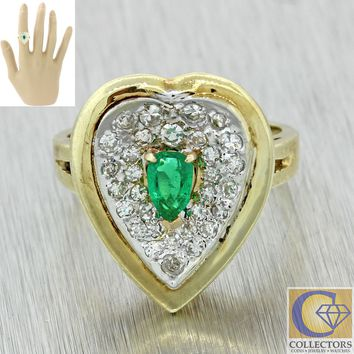 Vintage Estate 14k Yellow Gold .53ct Emerald Diamond Large Love Heart Shape Ring