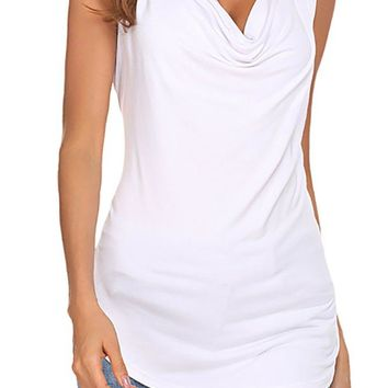 Qearal Womens Cowl Neck Ruched Sleeveless Blouse Casual Slim Fitted Shirt Tank Tops (White, M)