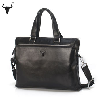 Top Cow Leather Men Briefcase Bag Causal Handbag Laptop Briefcases Male Business Bag Attache Laptop Case Office Fashion Design