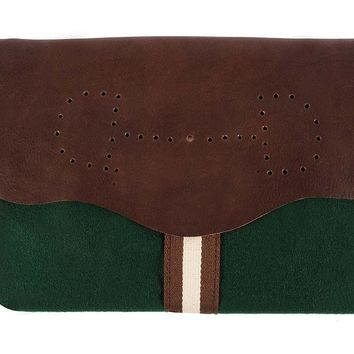 Leather/Wool Lucy Clutch, Hunter GreenREBECCA RAY DESIGNS