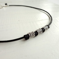 Leather necklace metal beads black short necklace unisex men women