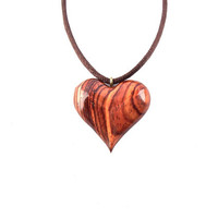 Wooden Heart Necklace, Wooden Heart Pendant, Heart Necklace, Carved Heart Pendant, 5th Anniversary Gift, Heart Pendant, Wood Jewelry